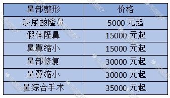 韩国隆鼻手术价格表