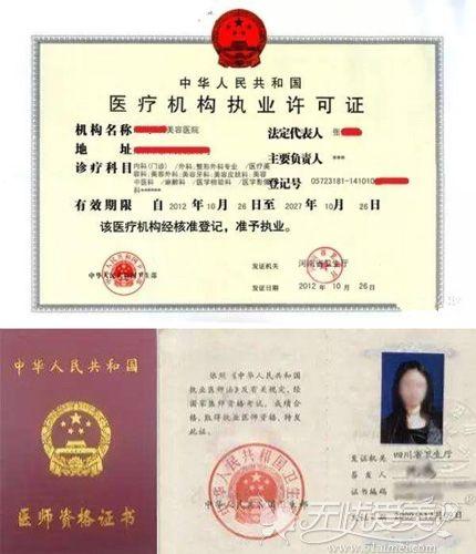 医疗资质证书以及医生资质